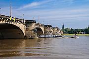 Augustusbrücke, Elbe, Dreikönigskirche, Dresden, Sachsen, Deutschland.|.Augustus Bridge, Elbe, Dresden, Germany