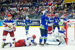 Robert Sabolic of Slovenia celebrates after he scored third goal for Slovenia against Konstantin Barulin of Russia during Ice Hockey match between Russia and Slovenia at Day 3 in Group B of 2015 IIHF World Championship, on May 3, 2015 in CEZ Arena, Ostrava, Czech Republic. Photo by Vid Ponikvar / Sportida