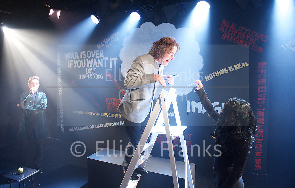 AND IN THE END<br /> The Death and Life of John Lennon<br /> Written and Directed<br /> by Alexander Marshall <br />  at The Jermyn Street Theatre, London, Great Britain<br /> press photocell<br /> 7th May 2013 <br /> <br /> <br /> Valentine Pelka as John Lennon<br /> <br /> Martin Bendel, <br /> Helen Phillips <br /> Spencer Cowan <br /> <br /> as the Gatekeepers<br /> <br /> <br /> Photograph by Elliott Franks