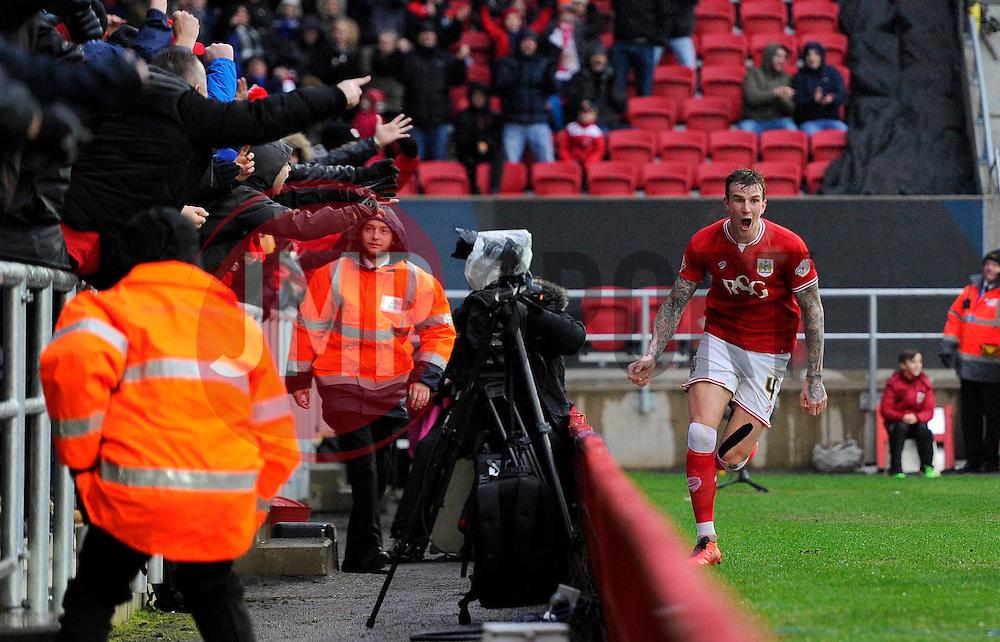 Aden Flint of Bristol City celebrates his second goal of the game  - Mandatory byline: Joe Meredith/JMP - 13/02/2016 - FOOTBALL - Ashton Gate - Bristol, England - Bristol City v Ipswich Town - Sky Bet Championship