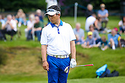 Korean golf professional Y E Yang just misses a putt during the BMW PGA Championship at the Wentworth Club, Virginia Water, United Kingdom on 28 May 2016. Photo by Simon Davies.