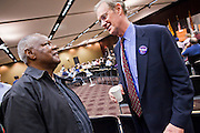 20 OCTOBER 2010 - TEMPE, AZ: James Sharp (CQ) LEFT talks with Terry Goddard (CQ) at a gubernatorial candidate forum on the Arizona State University campus in Tempe, Oct 20. Sharp is a former mayor of Flint, MI., and worked with Goddard when he was the mayor of Phoenix. Goddard lost the election to sitting Governor Jan Brewer, a conservative Republican.     PHOTO BY JACK KURTZ