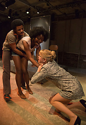 "© Licensed to London News Pictures. 01/11/2012. London, England. L-R: Tunji Kasim, Emmanuella Cole and Sian Breckin. World Premiere of ""but i cd only whisper"", a play by Kristina Colón, directed by Nadia Latif, running at the Arcola Studio 2 from 31 October to 1 December 2012. Photo credit: Bettina Strenske/LNP"