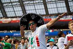 MOSCOW, RUSSIA - Sunday, June 17, 2018: A Mexico supporter wearing a sombrero during the FIFA World Cup Russia 2018 Group F match between Germany and Mexico at the Luzhniki Stadium. (Pic by David Rawcliffe/Propaganda)