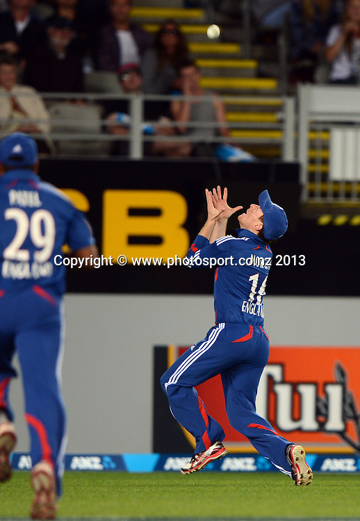 Eion Morgan takes a catch to dismiss Brendon McCullum. ANZ T20 Series. 1st Twenty20 Cricket International. New Zealand Black Caps versus England at Eden Park, Auckland, New Zealand. Saturday 9 February 2013. Photo: Andrew Cornaga/Photosport.co.nz