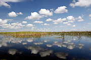 The sky reflects over the Okavango Delta, Botswana, Southern Africa, Africa.