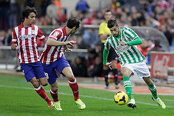 27.10.2013, Estadio Vicente Calderon, Madrid, ESP, Primera Division, Atletico Madrid vs Real Betis, 10. Runde, im Bild Atletico de Madrid's Oliver (L) and Juanfran (C) and Real Betis Alvaro Vadillo // Atletico de Madrid's Oliver (L) and Juanfran (C) and Real Betis Alvaro Vadillo during the Spanish Primera Division 10th round match between Club Atletico de Madrid and Real Betis at the Estadio Vicente Calderon in Madrid, Spain on 2013/10/28. EXPA Pictures © 2013, PhotoCredit: EXPA/ Alterphotos/ Victor Blanco<br /> <br /> *****ATTENTION - OUT of ESP, SUI*****