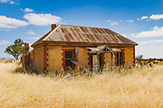 dilapidated old sandstone farm house in a field of long dry grass near Palmer, South Australia, Australia