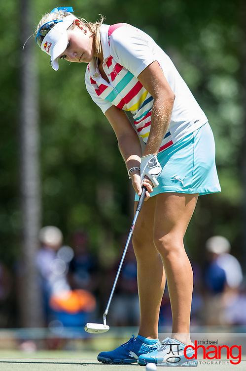 April 29 2012: Lexi Thompson putts the ball on the green of the 9th hole during the final round of the Mobile Bay LPGA Classic at Magnolia Grove in Mobile, AL.