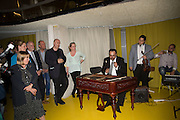 HUNGARIAN GYPSY BAND,: AVASI, Launch of ' More Human',  Designing a World Where People Come First' by Steve Hilton. Party held at Second Home in Princelet St, off Brick Lane, London. 19 May 2015.
