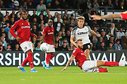 Derby County midfielder Kieran Dowell (8) shoots wide of goal during the EFL Sky Bet Championship match between Derby County and Bristol City at the Pride Park, Derby, England on 20 August 2019.