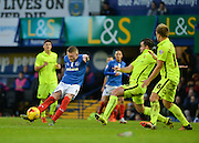 Portsmouth striker Caolan Lavery shot on goal make it 1-0 during the Sky Bet League 2 match between Portsmouth and Hartlepool United at Fratton Park, Portsmouth, England on 12 December 2015. Photo by Adam Rivers.