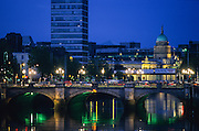Liffey River and O'Connell bridge.