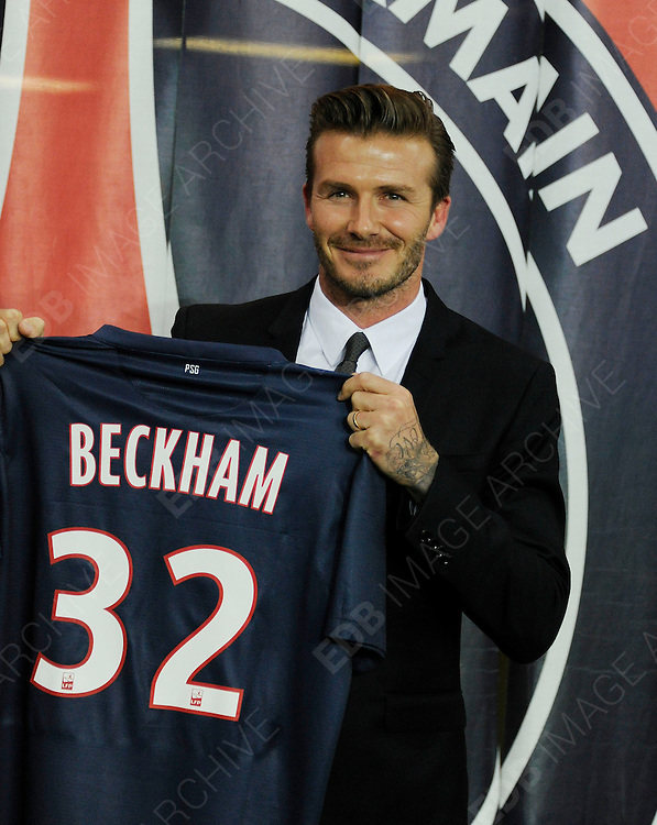 31.JANUARY.2013. PARIS<br /> <br /> DAVID BECKHAM AT PRESS CONFERENCE IN PARIS AFTER SIGNING FOR PSG.<br /> <br /> BYLINE: EDBIMAGEARCHIVE.CO.UK<br /> <br /> *THIS IMAGE IS STRICTLY FOR UK NEWSPAPERS AND MAGAZINES ONLY*<br /> *FOR WORLD WIDE SALES AND WEB USE PLEASE CONTACT EDBIMAGEARCHIVE - 0208 954 5968*