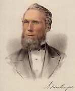Alexander Mackenzie (1822-1892) Canadian politician.  Born in Logieraith, Perthshire, Scotland, he emigrated to Canada in 1842. First Liberal Prime Minister of Canada (1873-1878) and Leader of the Opposition (1878-1880).   From 'The Modern Portrait Gallery' (London, c1880). Tinted lithograph.