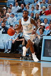 CHAPEL HILL, NC - FEBRUARY 05: Seventh Woods #0 of the North Carolina Tar Heels dribbles the ball during a game against the North Carolina State Wolfpack on February 05, 2019 at the Dean Smith Center in Chapel Hill, North Carolina. North Carolina won 113-96. North Carolina wore retro uniforms to honor the 50th anniversary of the 1967-69 team. (Photo by Peyton Williams/UNC/Getty Images) *** Local Caption *** Seventh Woods