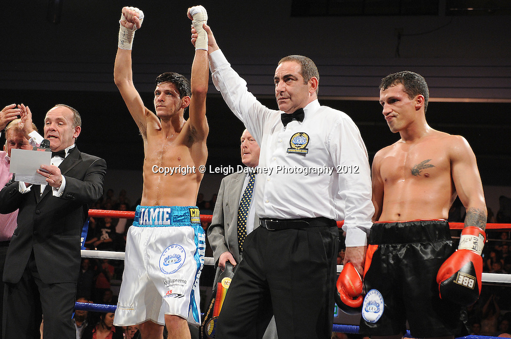 Jamie McDonnell (white shorts) defeats Ivan Pozo for the European Bantamweight Title, on 3rd March 2012 at the Hillsborough Leisure Centre. Frank Maloney & Dennis Hobson Promotions © Leigh Dawney Photography 2012.Jamie McDonnell (white shorts) defeats Ivan Pozo for the European Bantamweight Title, on 3rd March 2012 at the Hillsborough Leisure Centre. Frank Maloney & Dennis Hobson Promotions © Leigh Dawney Photography 2012.Jamie McDonnell (white shorts) defeats Ivan Pozo to retain the European Bantamweight Title, on 3rd March 2012 at the Hillsborough Leisure Centre. Frank Maloney & Dennis Hobson Promotions © Leigh Dawney Photography 2012.