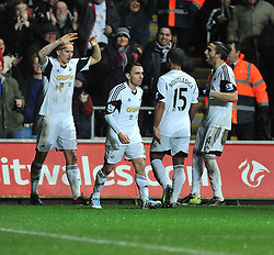 Swansea City's Jonjo Shelvey celebrates. - Photo mandatory by-line: Alex James/JMP - Tel: Mobile: 07966 386802 28/01/2014 - SPORT - FOOTBALL - Liberty Stadium - Swansea - Swansea City v Fulham - Barclays Premier League