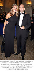 Actress CLAIRE SWEENEY and MR TONY HIBBERD at a dinner in London on 4th November 2002.PEW 7