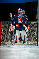 KELOWNA, BC - FEBRUARY 23: Dylan Ferguson #31 of the Kamloops Blazers stands in net during the national anthem against the Kelowna Rockets at Prospera Place on February 23, 2019 in Kelowna, Canada. (Photo by Marissa Baecker/Getty Images)
