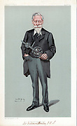 William Crookes (1832-1919) holding discharge tube which carried his name.  British physicist and chemist. Cartoon by 'Spy' (Leslie Ward) from 'Vanity Fair', London, May 1903.