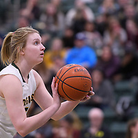4th year guard Caitlin Zacharias (5) of the Regina Cougars in action during the home game on January  27 at Centre for Kinesiology, Health and Sport. Credit: Arthur Ward/Arthur Images