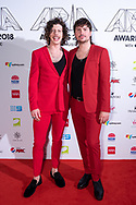 Adam Hyde and Reuben Styles of Peking Duk at The 2018 ARIA Awards at The Star in Sydney, Australia