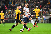 Tottenham Hotspur Defender Toby Alderweireld (4) and Newport County Forward Padraig Amond (9) battle for the ball during the The FA Cup 4th round replay match between Tottenham Hotspur and Newport County at Wembley Stadium, London, England on 7 February 2018. Picture by Stephen Wright.