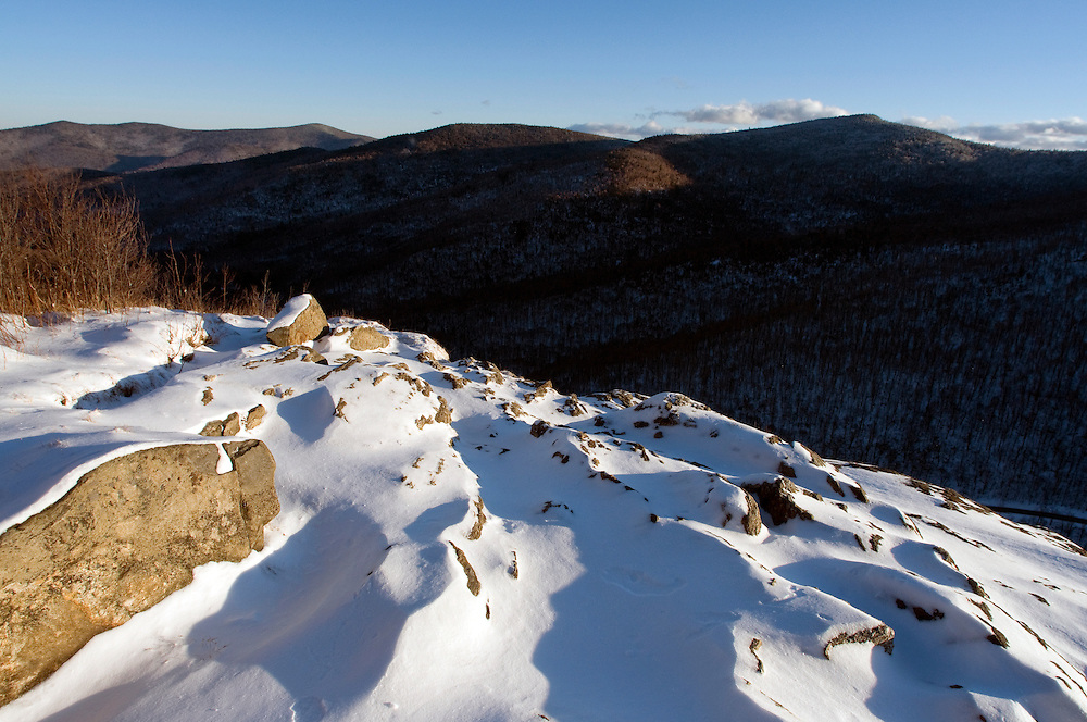 Snowy winter landscape at Mount Horrid in the Breadloaf Wilderness in the Moosalamoo National Recreation Area in Goshen, Vermont.