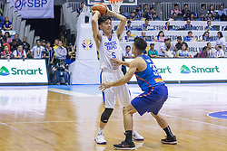 November 27, 2017 - Cubao, Quezon City, Philippines - Cheng Liu defended by Matthew Wright.Gilas Pilipinas defended their home against Chinese Taipei. Game ended at 90 - 83. (Credit Image: © Noel Jose Tonido/Pacific Press via ZUMA Wire)