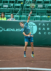 April 13, 2018 - Houston, TX, U.S. - HOUSTON, TX - APRIL 13:  Guido Pella of Argentina watches his serve in the match against Tennys Sandgren of the United States during the Quarterfinal round of the Men's Clay Court Championship on April 13, 2018 at River Oaks Country Club in Houston, Texas.  (Photo by Leslie Plaza Johnson/Icon Sportswire) (Credit Image: © Leslie Plaza Johnson/Icon SMI via ZUMA Press)