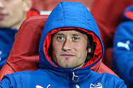 Tomas Rosicky of Arsenal starts on the bench as a substitute before the UEFA Champions League match at the Emirates Stadium, London<br /> Picture by David Horn/Focus Images Ltd +44 7545 970036<br /> 04/11/2014