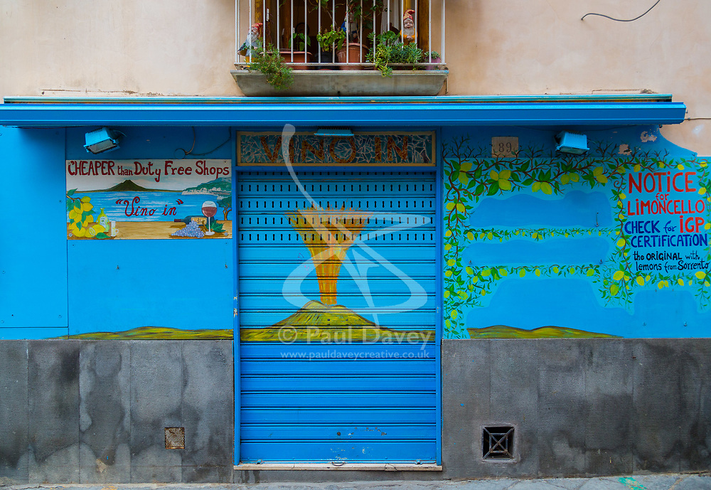 Sorrento, Italy, September 17 2017. A shuttered shop at daybreak awaits opening in Sorrento, Italy. © Paul Davey