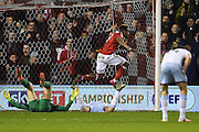 Nottingham Forest forward Britt Assombalonga (9) celebrates after scoring a goal to make it 1-1 during the EFL Sky Bet Championship match between Nottingham Forest and Aston Villa at the City Ground, Nottingham, England on 4 February 2017. Photo by Jon Hobley.