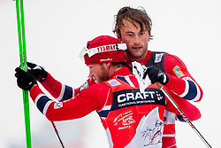 Martin Johansrud Sundby and Petter Jr. Northug of Norway during mens 10km Classic individual start of the Tour de Ski 2014 of the FIS cross country World cup on January 4th, 2014 in Cross Country Centre Lago di Tesero, Val di Fiemme, Italy. (Photo by Urban Urbanc / Sportida)