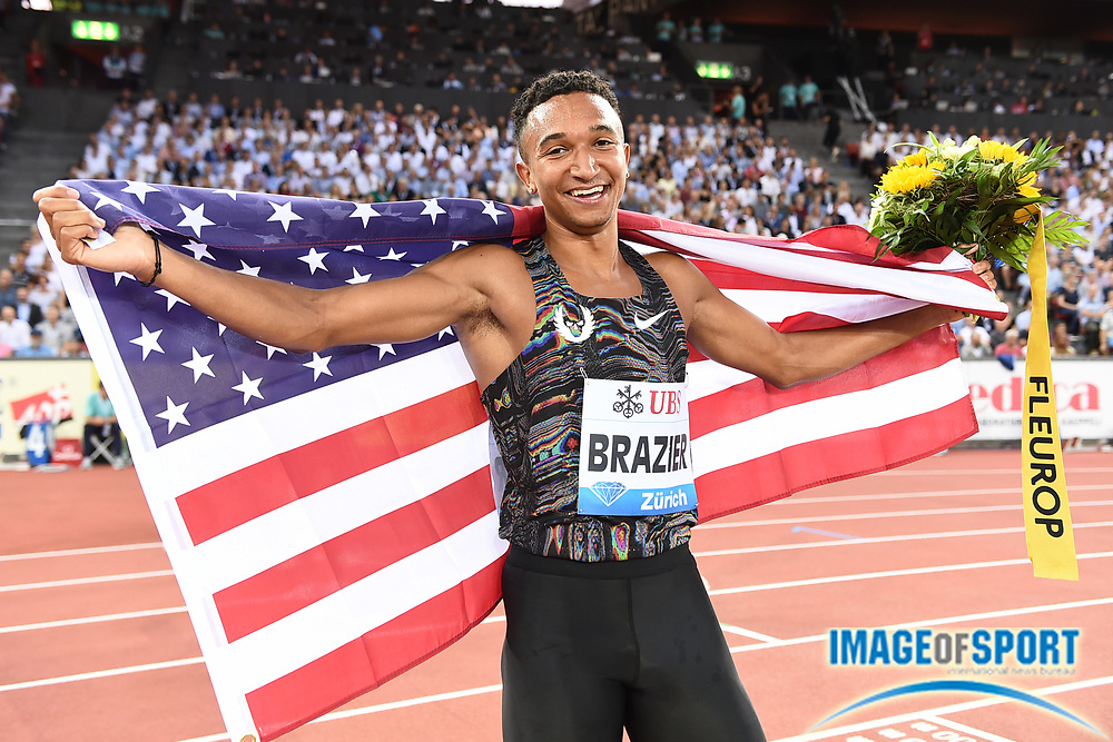Donavan Brazier (USA) poses with United States flag after winning the 800m in 1:42.70 during the IAAF Diamond League final during the Weltkasse Zurich at Letzigrund Stadium, Thursday, Aug. 29, 2019, in Zurich, Switzerland. (Jiro Mochizuki/Image of Sport)