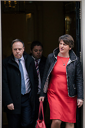 © Licensed to London News Pictures. 21/11/2017. London, UK. DUP Leader ARLENE FOSTER (R) and DUP MP for North Belfast NIGEL DODDS (L) leave 10 Downing Street after meeting with Prime Minister Theresa May. Photo credit: Rob Pinney/LNP