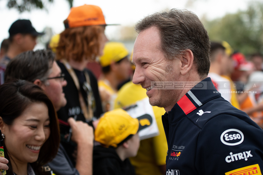ALBERT PARK, VIC - MARCH 15: Aston Martin Red Bull Racing boss Christian Horner and chief technical officer Adrian Newey arrive at The Australian Formula One Grand Prix on March 15, 2019, at The Melbourne Grand Prix Circuit in Albert Park, Australia. (Photo by Speed Media/Icon Sportswire)