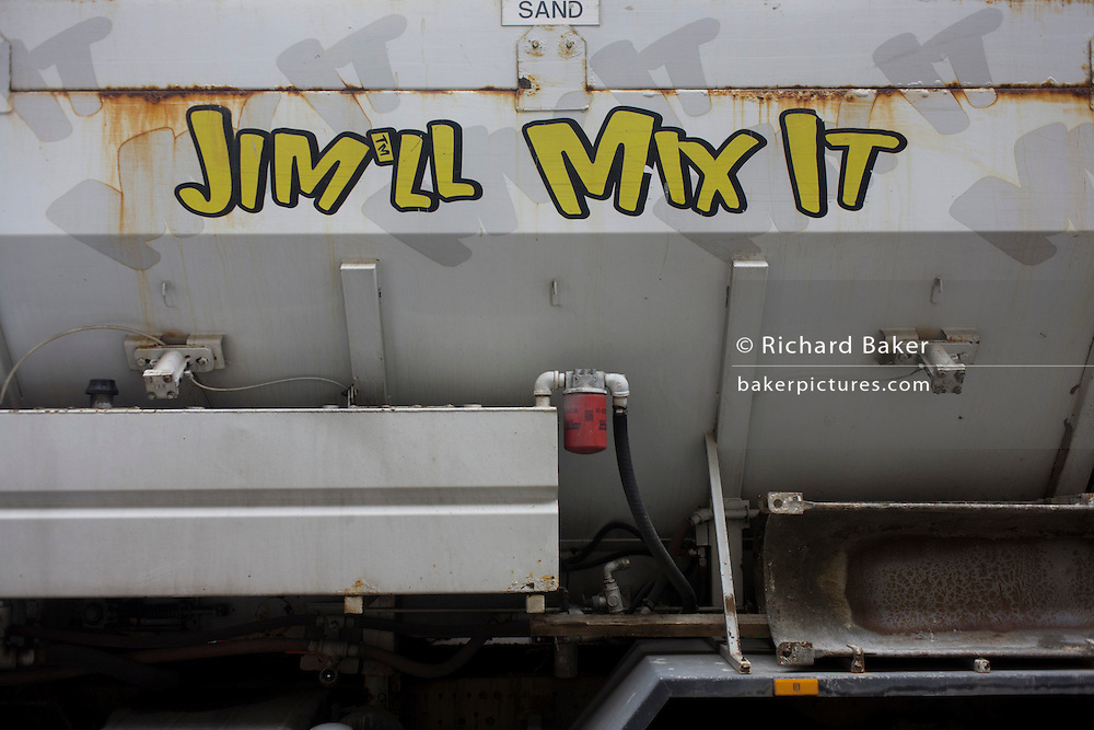 After the controversy of TV personality and paedophile Jimmy Savile, a play on words of his famous catchphrase 'Jim'll Fix it' on a truck/lorry.