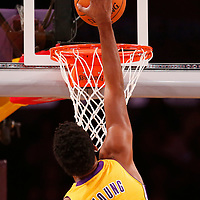 06 October 2013: Los Angeles Lakers shooting guard Nick Young (0) dunks the ball during the Denver Nuggets 97-88 victory over the Los Angeles Lakers at the Staples Center, Los Angeles, California, USA.