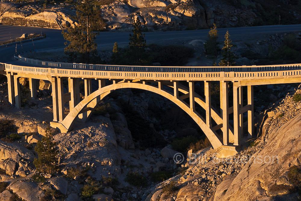 Rainbow Bridge on old highway 40 at sunrise. Highway 40 runs up to Donner Summit above Donner Lake near Truckee, CA.