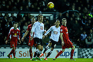 Thomas Ince of Derby County (2nd right)  shoots during the Sky Bet Championship match at the iPro Stadium, Derby<br /> Picture by Andy Kearns/Focus Images Ltd 0781 864 4264<br /> 24/02/2016