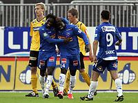 Fotball<br /> Norge<br /> 09.06.2010<br /> Foto: Morten Olsen, Digitalsport<br /> <br /> Tredje runde NM herrer<br /> Sandefjord v Moss 4:2<br /> <br /> Victor Bindia (4) og Malick Mane jubler for scoring til Sandefjord