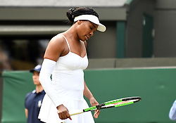 July 1, 2019 - London, ENG, U.S. - LONDON, ENGLAND - JULY 01: Venus Williams (USA) looking down during her first round loss to 15 year old Cori Gauff (USA) during The Championships, Wimbledon, on July 1, 2019, at the All England Lawn Tennis and Croquet Club in London, England. (Photo by Cynthia Lum/Icon Sportswire) (Credit Image: © Cynthia Lum/Icon SMI via ZUMA Press)