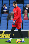Liverpool goalkeeper Alisson Becker (13) warm up during the Premier League match between Brighton and Hove Albion and Liverpool at the American Express Community Stadium, Brighton and Hove, England on 12 January 2019.