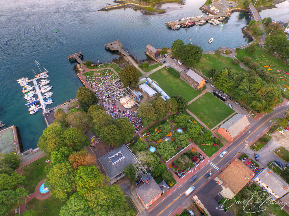 An aerial view of the Bruce Cockburn concert at Prescott Park Arts Festival in Portsmouth, NH. August 2015