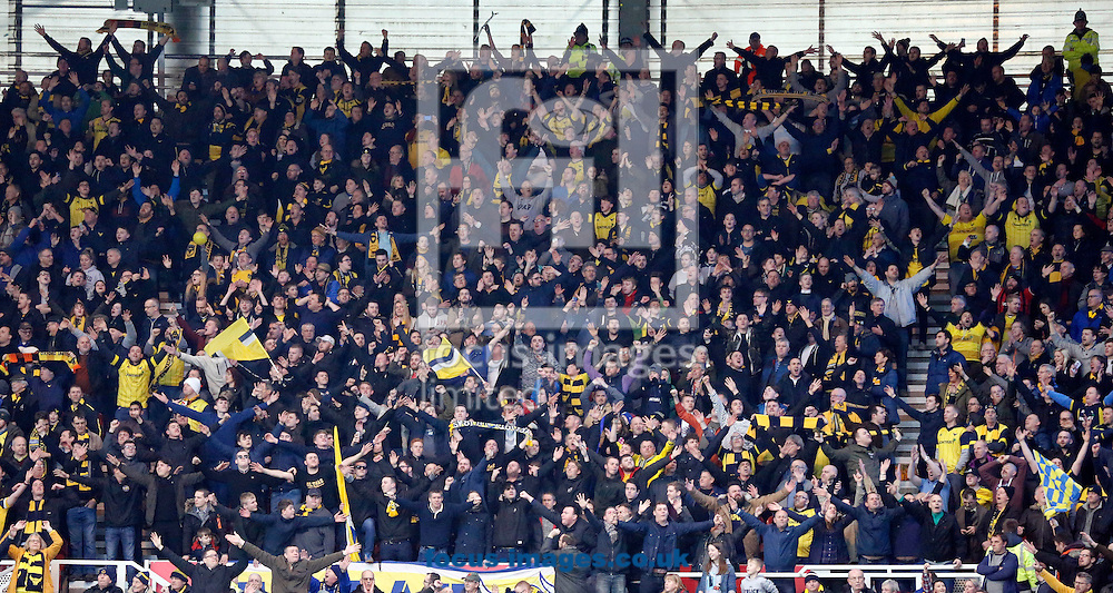 Oxford United fans during the FA Cup match at the Riverside Stadium, Middlesbrough<br /> Picture by Simon Moore/Focus Images Ltd 07807 671782<br /> 18/02/2017
