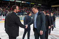 KELOWNA, CANADA - APRIL 30: Kelowna Rockets' assistant coach Kris Mallette shakes hands with Seattle Thunderbirds' assistant coach Matt O'Dette on April 30, 2017 at Prospera Place in Kelowna, British Columbia, Canada.  (Photo by Marissa Baecker/Shoot the Breeze)  *** Local Caption ***