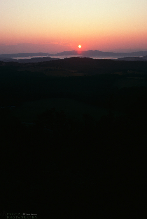 .The sun rises over the mountains near Pipestem Resort State Park in West Virginia, circa 1999. The park is located in southern West Virginia on the border between Mercer and Summers counties and offers scenic beauty and plenty of outdoor recreation including hiking, biking, horseback riding and golf..