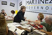 ALBUQUERQUE, NM - OCTOBER, 13: Republican gubernatorial candidate Susana Martinez greets volunteers at her campaign headquarters on October 13, 2010 in Albuquerque New Mexico. (Photo by Steven St. John/For The Washington Post)